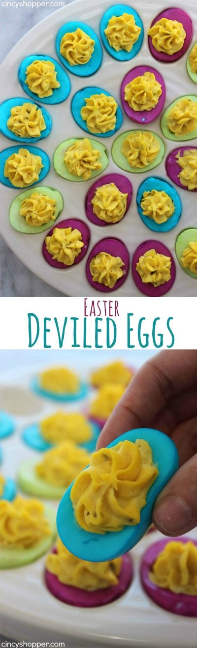 Colored Easter Deviled Eggs- These eggs are filled with traditional deviled egg filling but the whites get a splash of color! Super fun Easter dinner idea.