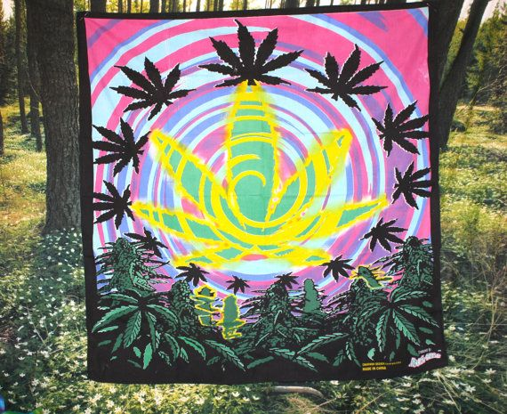 Vtg 90 S Weed Trippy Tapestry 44 X 44 By PenelopeMeatloaf On Etsy 24 00.