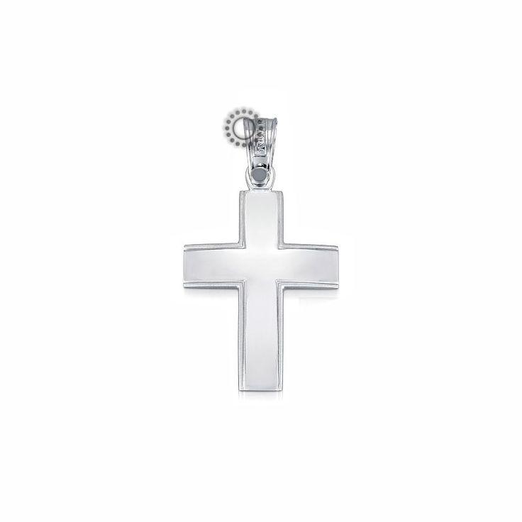 Βαπτιστικός σταυρός για αγόρι ΤΡΙΑΝΤΟΣ από λευκόχρυσο Κ14 καμπυλωτός με ματ πλαίσιο | Σταυροί βάπτισης ΤΣΑΛΔΑΡΗΣ Χαλάνδρι #βαπτιστικός #σταυρός #βάπτισης #Τριάντος #αγόρι