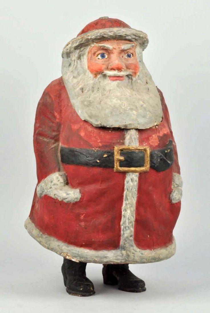 Large 1906 papier mache santa container figure antique for Paper mache christmas