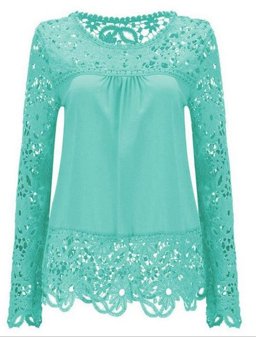 $13.96 Solid Color Lace Spliced Hollow Out Blouse - Light Blue