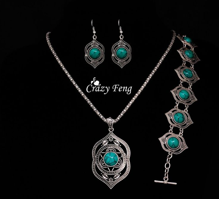Free shipping Necklace earrings bracelet Wholesale price Silver plated Turquoise jewelry sets gift african beads jewelry set