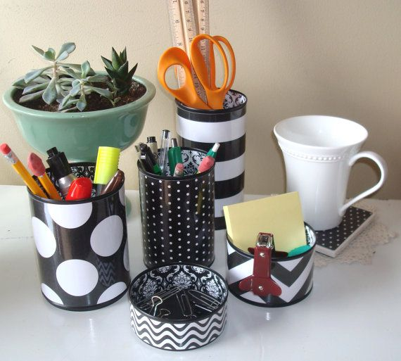 Black and White Geometric and Damask Desk Accessories and Coaster / Pencil Holder / Pencil Cup / Desk Organizer / Office Decor - 551