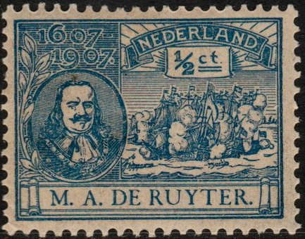 Netherlands, 1907. Michiel Adriaenszoon de Ruyter (24 March 1607 – 29 April 1676) was a Dutch admiral. He is the most famous and one of the most skilled admirals in Dutch history, most famous for his role in the Anglo-Dutch Wars of the 17th century.