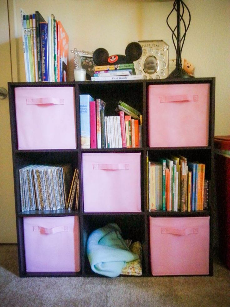 Cube Storage Shelves With Pink Bins Creating Cube Storage Shelves