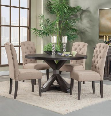 """Shop Alpine Newberry 54"""" Round Dining Table Set in Salvaged Grey with linen tufted chairs."""