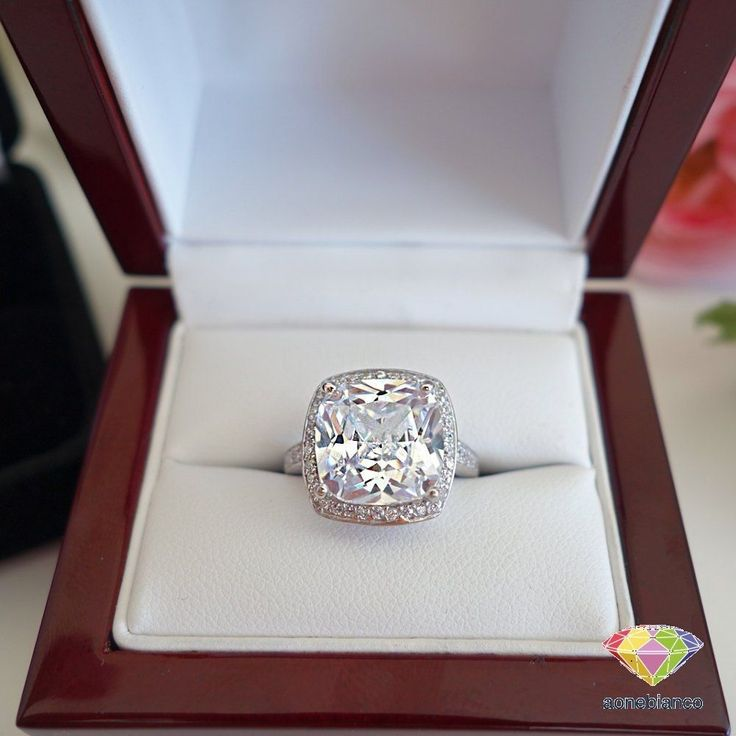 Halo 2.50 Ct Diamond Engagement Ring Cushion Cut 14K White Gold Over Ring #aonebianco #SolitairewithAccents