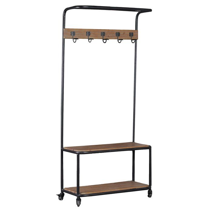 Add industrial style and storage to an entry, hall or mud room with this metal and wood hall tree. Four wheels with brakes provide for easy mobility and sturdy safety. Rustic Fir Wood accents the bench top, line of hooks and bottom shelf. A top metal shelf is perfect for keeping lightweight baskets or blankets within reach while a wood bottom shelf is perfect for keeping shoes and bags out of the way. The simple design is perfect for all decor styles.