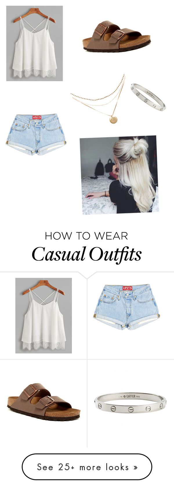 """Casual summer"" by carleigh-marisaa on Polyvore featuring Birkenstock and Cartier"