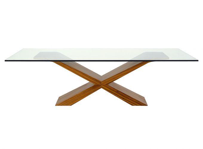 Mesa de Jantar Beta. Mede 2,60 m (comprimento) por 1,20 m (largura). Estrutura em lâmina de pau ferro com tampo de cristal.