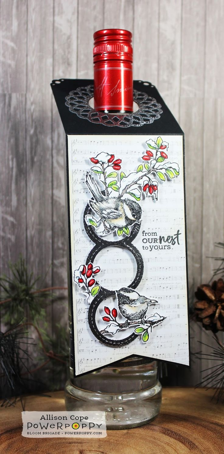 "Wine Tag featuring Power Poppy's ""Tweet Tidings"" stamp set by Allison Cope."