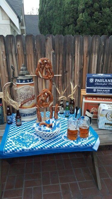 oktoberfest party decorations paulaner theme german beer pretzels rh pinterest com Oktoberfest Decorations Oktoberfest Centerpieces DIY