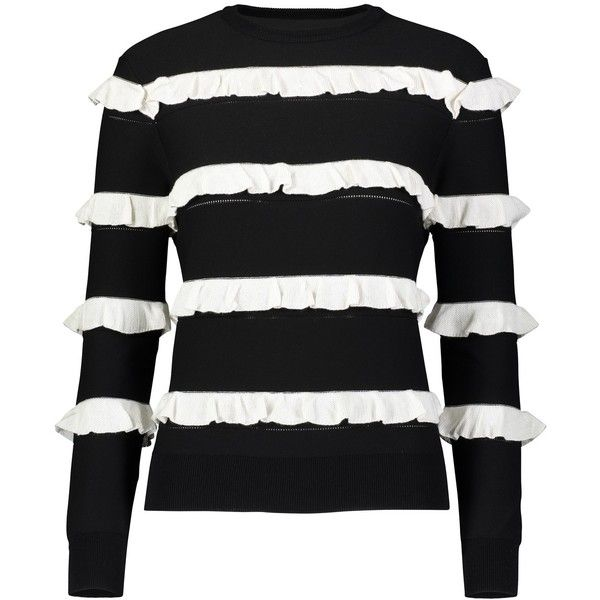 YAL NEW YORK Ruffle Striped top (255 PEN) ❤ liked on Polyvore featuring tops, black, striped top, ruffle trim top, stripe top, frilly tops and frill top