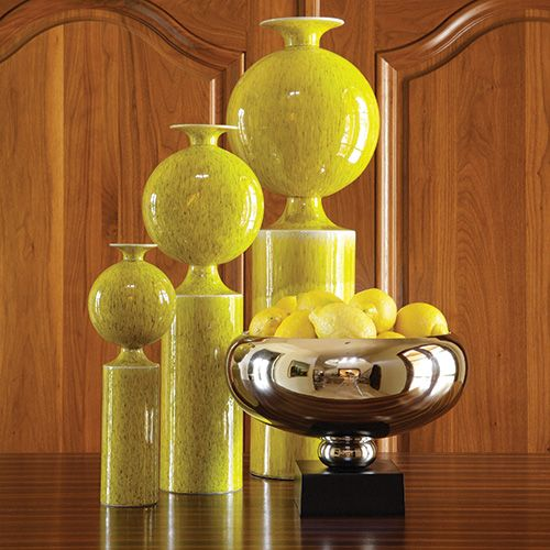 "Large Citron Pill Vase  FINE HOUSE PRODUCTS 9""L x 6.75""W x 26""H 7""L x 4.75""W x 19.75""H 4.25""L x 3.5""W x 13.5""H"