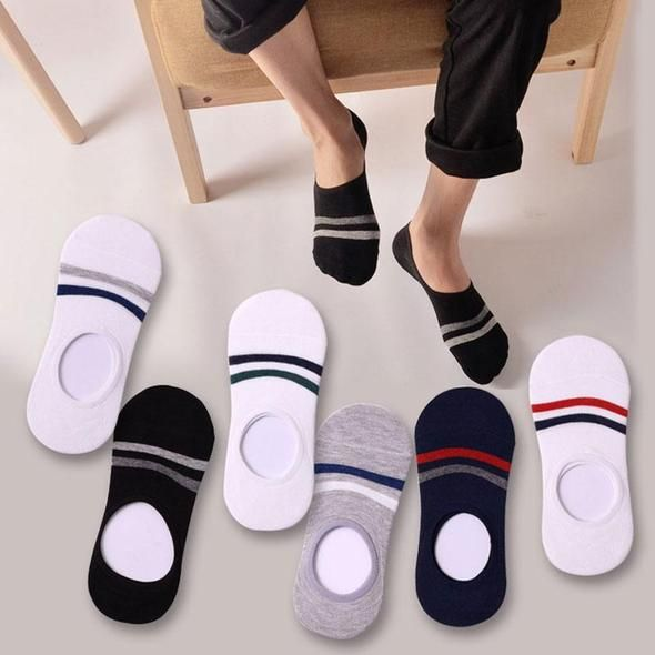 3Pair Men Summer Socks Slippers Invisible Boat Socks with Print Meias Masculino Breathable Low Cut No Show Socks Non Slip