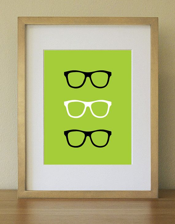 Nerd Eyeglasses In Colorful Background. Bright Apple Green. Art Print. Home  Decor. Part 67