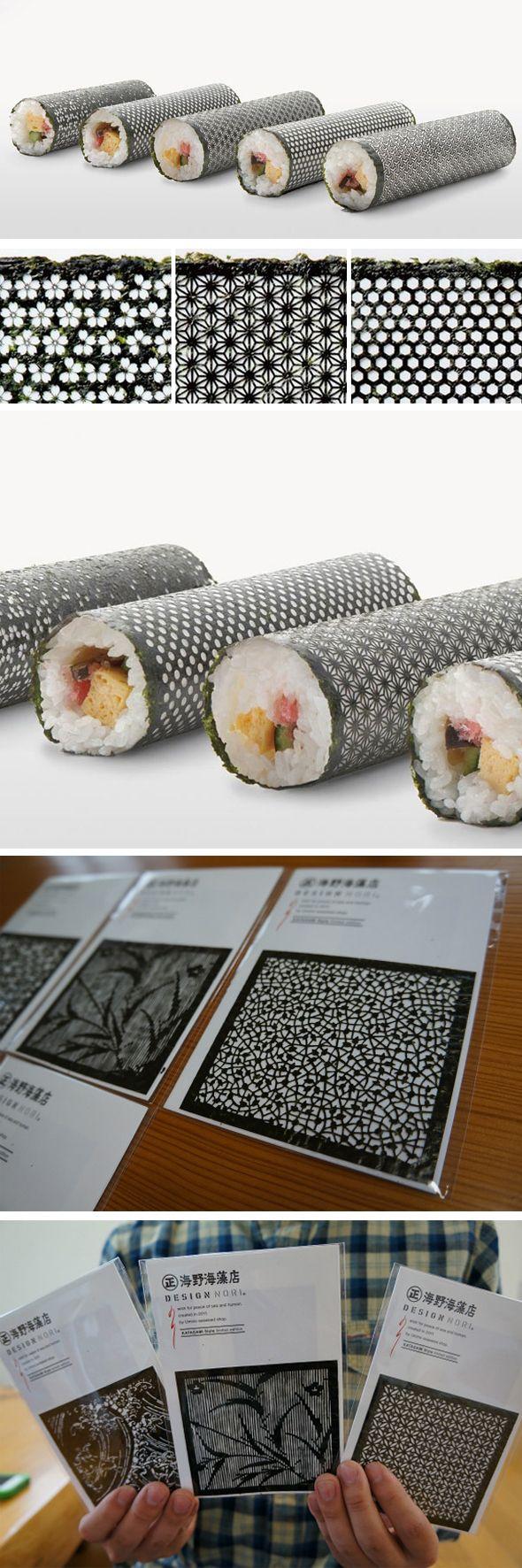Pour aider à stimuler les ventes de nori, algue comestible connue pour être utilisée dans les sushis, l'agence de pub I BBDO a développé une série complexe d'algues découpées au laser. Chaque feuille est basée sur l'histoire ou la symbolique du Japon et représente le bonheur, la chance et la longévité. Bel exemple pour rendre une simple algue attrayante et esthétique. http://www.isbbdo.co.jp/