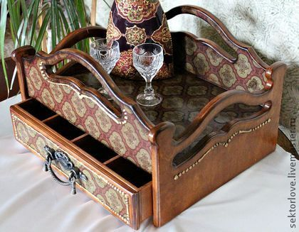 сервировочный столик Кабинетный - коричневый,столик для завтрака,столик-поднос