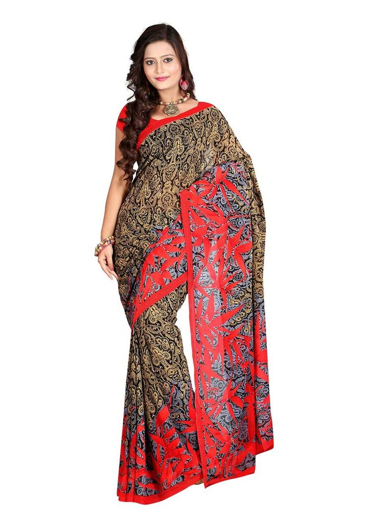 Fabdeal Black,Cream & Red Colored Dani Georgette Printed Saree