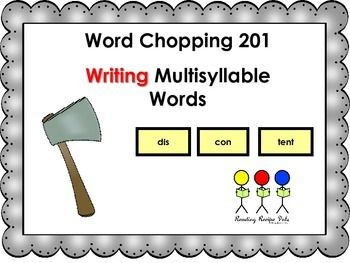 Recipe for teaching students to write multisyllable words.  Includes lesson plan and syllable boards and 2 and 3 syllable word cards for practice with nonsense and real words. Syllable types poster cards and anchor chart for writing. Teach your students how to decode multisyllable words with:Word Chopping 101 - A FREEBIECheck out our Nursery Rhyme Lesson Plan Format:Nursery Rhyme Lesson PlanOther Syllable Products: Open Syllables  Closed Syllables Multisyllabic Words r-controlled…