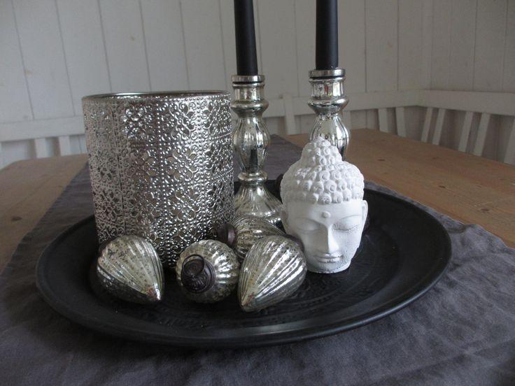 Perfect Deko Decoration boho bohemian Buddha schwarz wei silber black white silver