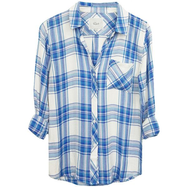 Rails Hunter Shirt - White, Blue & Lilac ($175) ❤ liked on Polyvore featuring tops, white checkered shirt, white collar shirt, collared shirt, long-sleeve shirt and blue top