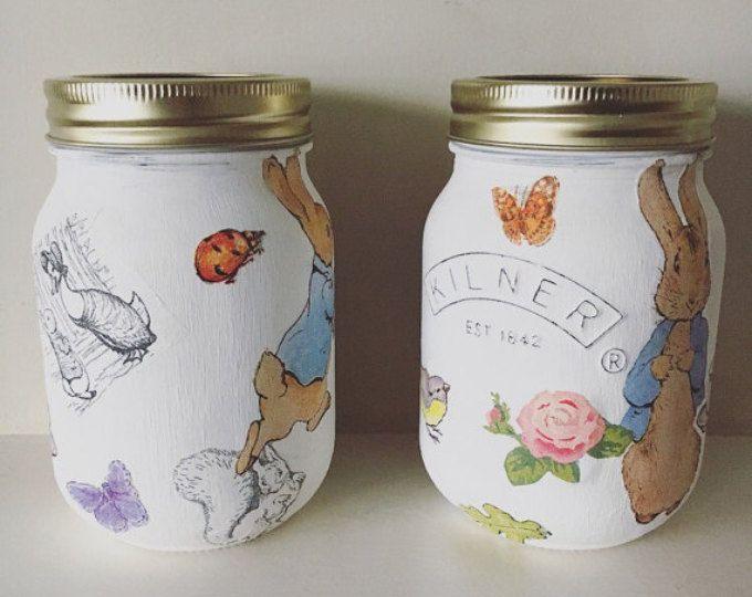 Beatrix Potter Peter Rabbit Decoupaged Kilner jar - kids decor