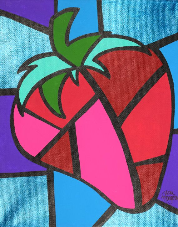 Strawberry Cubism Art Picasso Strawberry 8x10 by ToniTiger415