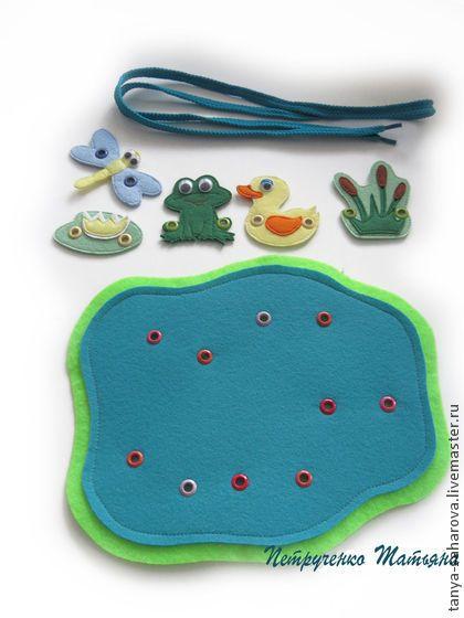 """Купить Шнуровка """"Пруд"""" - развивающая игрушка, развитие мелкой моторики, раннее развитие, для детей, игра"""