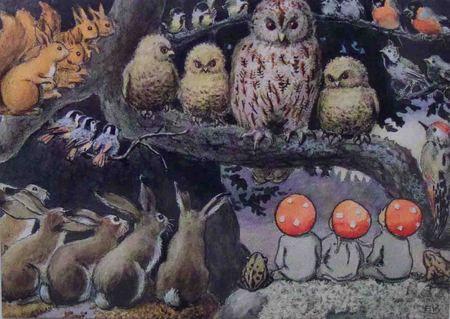 Tomtebobarnen - metsän kokous | Perromania - pieni postikorttikauppa