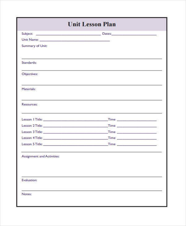 Downloadable Lesson Plan Template Awesome 16 Lesson Plan Samples