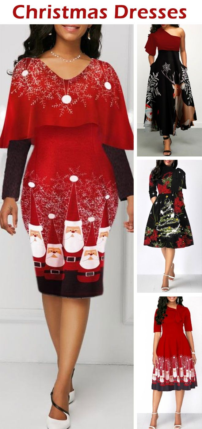Overlay Embellished Santa Print Long Sleeve Christmas Dress Fashion Clothes Women Clothes For Women Fashion [ 1397 x 659 Pixel ]
