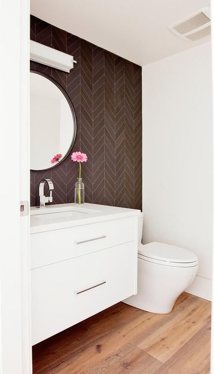 Brown herringbone tiles bathrooms pinterest for Small bathroom herringbone tile