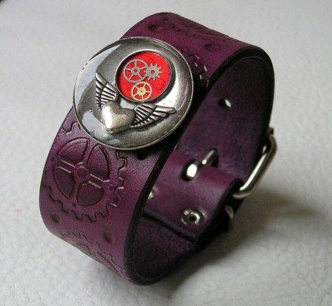 kožený náramek Steampunkový fialový