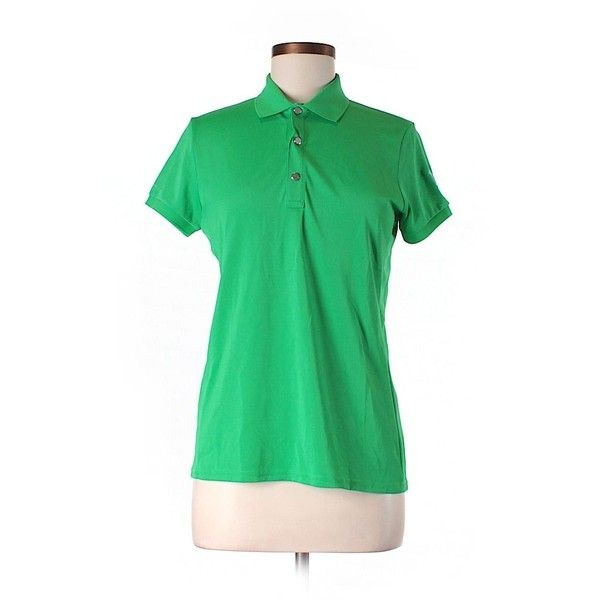 Pre-owned RLX Ralph Lauren Short Sleeve Polo ($28) ❤ liked on Polyvore featuring tops, green, short sleeve tops, polo top and green top