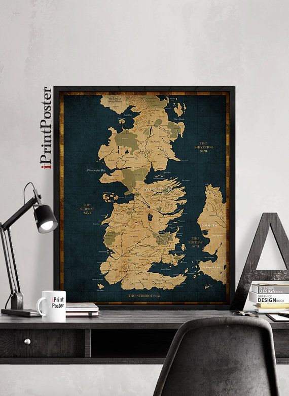 Game of Thrones, Westeros, Westeros map, Game of Thrones map print, Game of Thrones poster, wall art, home Decor, westeros, iPrintPoster.