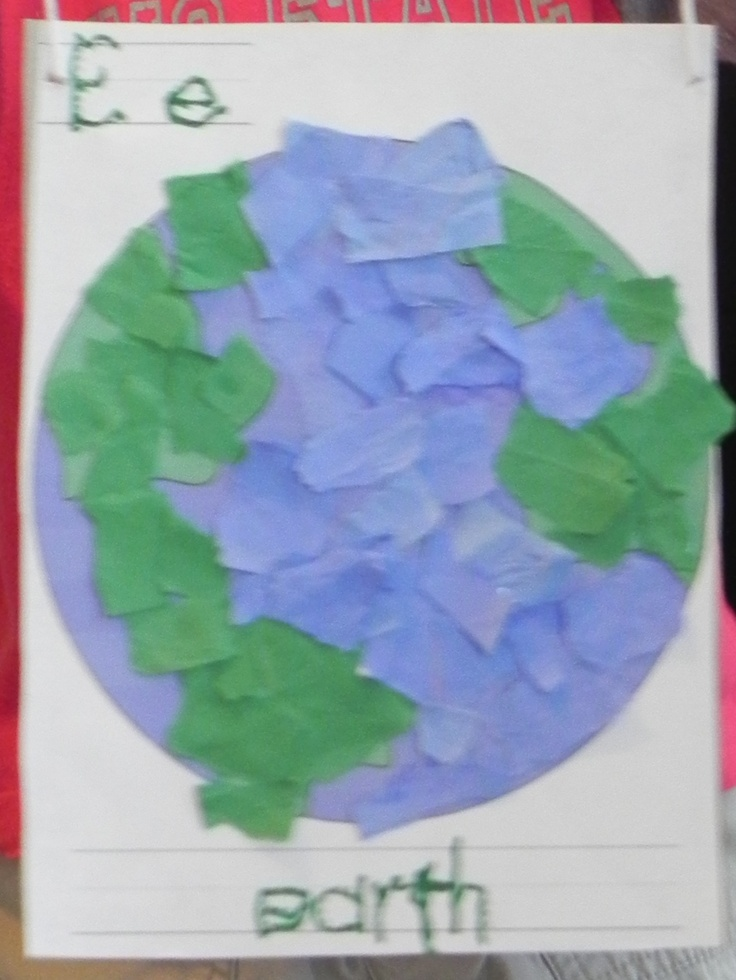 """Preschool Earth Day """"earth"""" craft.  We glued the colored template onto a recycled cereal box, tore the cardstock into pieces and glued onto template.  We talked about the plantet name, what things live on the land & in the water.  We used a hole punch to make holes on each side of box and tied yarn through the holes to hang.  If suggest small pictures of fish/sharks/whales to put into the water and maybe stick people, flowers & trees to put on the land. Very versatile for different aged kids"""