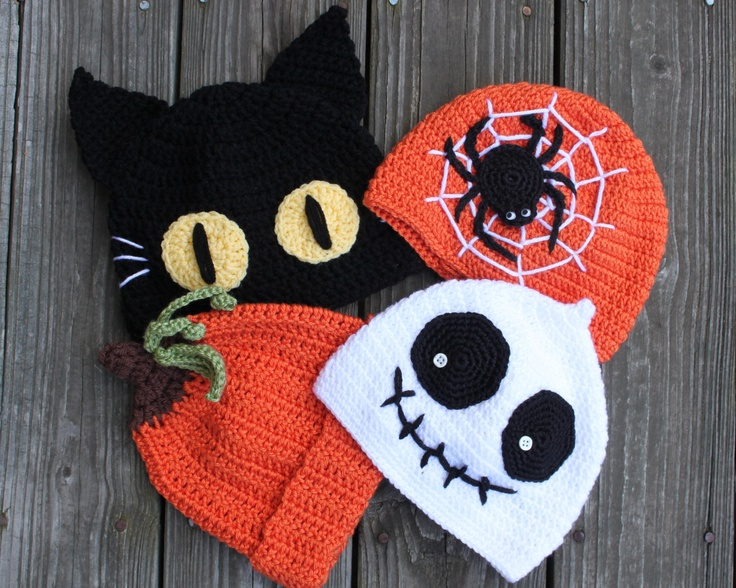 Beautiful Crocheted Halloween Beanie Hat - Ghost Hat / Skeleton Hat ,Web Spider Hat , Cat Hat , Pumpkin Hat. $25.00, via Etsy.