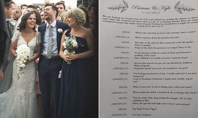 Irish bride makes slang translator for US wedding guests | Daily Mail Online