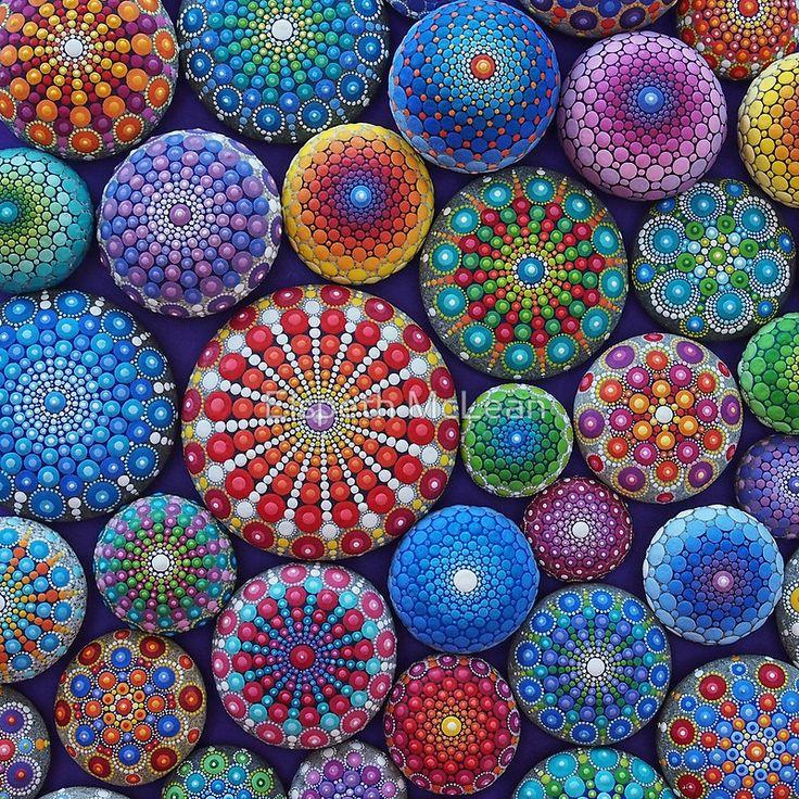 Una fotografía de una bella colección de Mandala piedras pintado y fotografiado por Elspeth McLean Creada 2015 • Buy this artwork on apparel, stickers, phone cases y more.