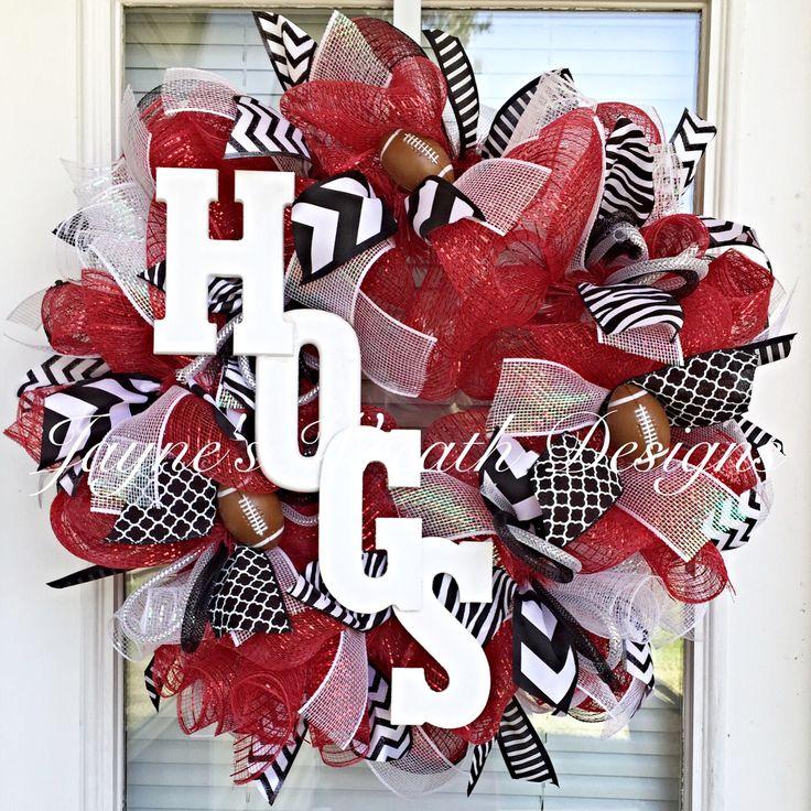 Arkansas Razorbacks Hogs Football Wreath  Jayne's wreath designs on FB and Instagram