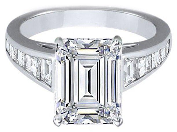 Large Emerald Cut Diamond Engagement Ring with Trapezoid Cut Diamonds - ES231EC