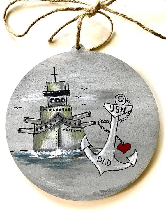 Navy Gift personalized -Ornament -Navy Gift Idea -Custom Navy - Navy Dad gift idea - custom navy gift - fathers day gift - hand painted ornament - custom ornament - christmas ornament - navy themed gift idea - navy themed ornament