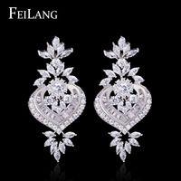 Feilang 2014 New Pure pendientes de lujo mujeres elegante completo Micro CZ pavimenta con incrustaciones de flores pendientes de gota pendientes de moda ( FSEP187 )