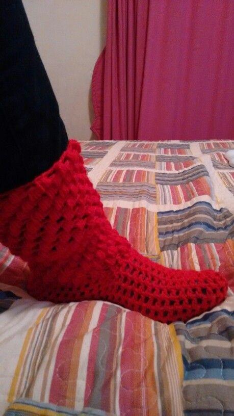 Zapatillas de descanso, rojo, crochet