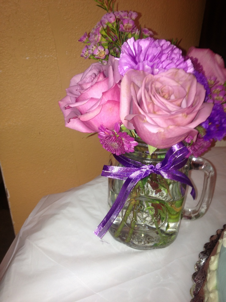 Mason jar bridal shower Arrangement :)