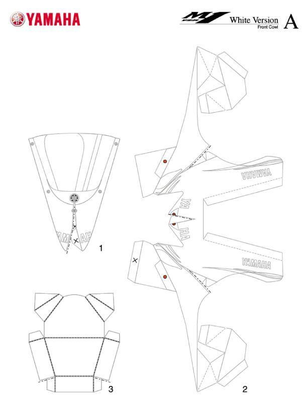 Le constructeur Yamaha, plutôt spécialisé dans la vente de motos, propose également une collection de paper crafts sur son site internet (les Japonnais ne peuvent pas s'en empêcher). On y retrouve des animaux, des pop-up et bien évidemment quelques bolidesLire la suitePapercraft Yamaha YZR-M1