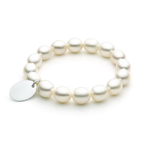 Sterling Silver White oval 10.5-11.5mm Freshwater Pearls, elastic Bracelet with oval charm