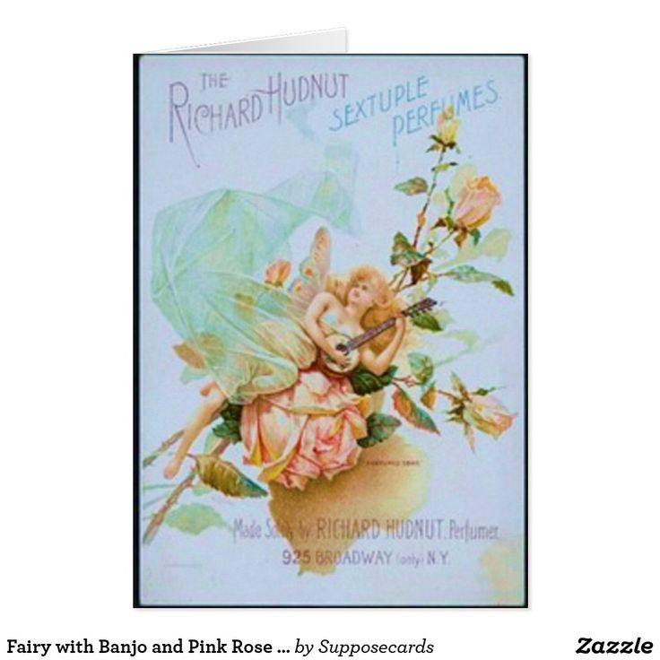 Fee mit Banjo und rosa Rosen-Anzeige Grußkarte   Zazzle