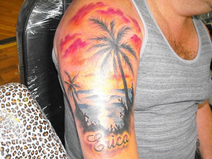 Beach theme tattoo with his daughter's name #tattoo #jimmytattoo #art #ink